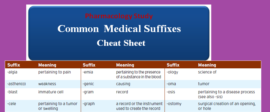 common-medical-suffixes